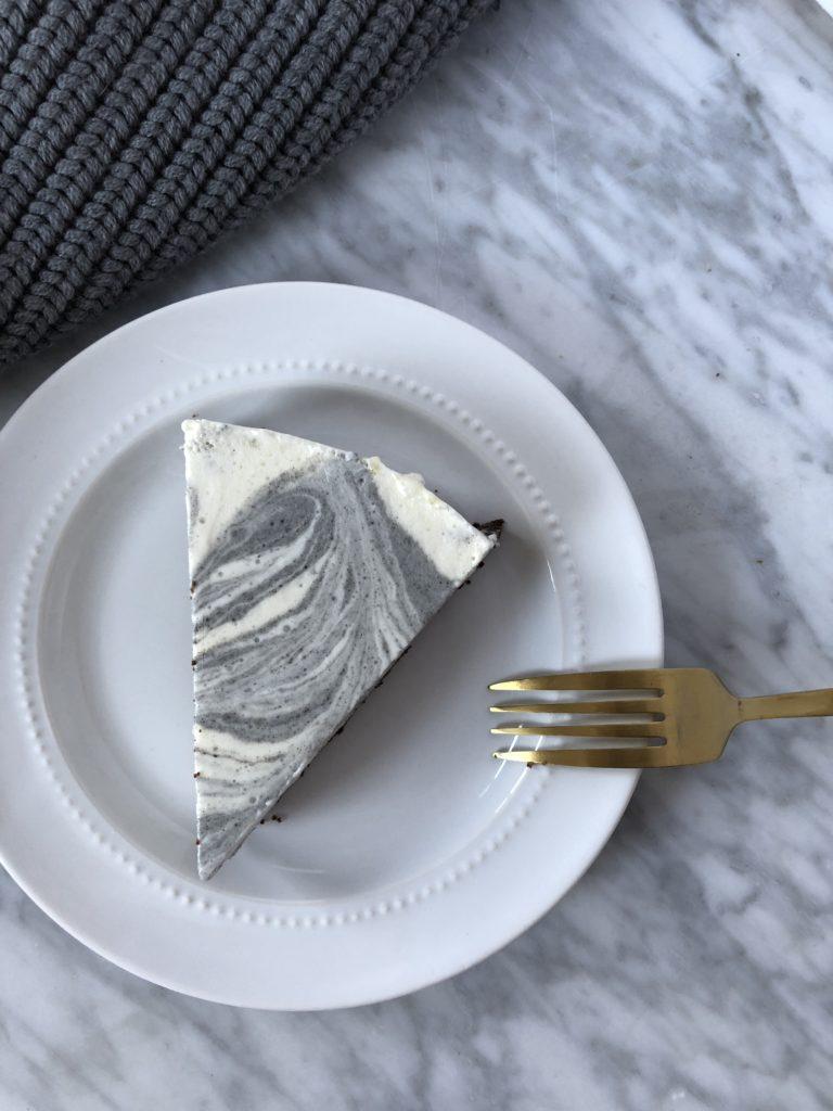 black sesame marble cheesecake