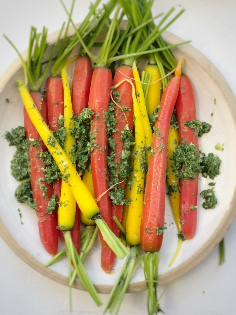 carrots with carrot-top pistou