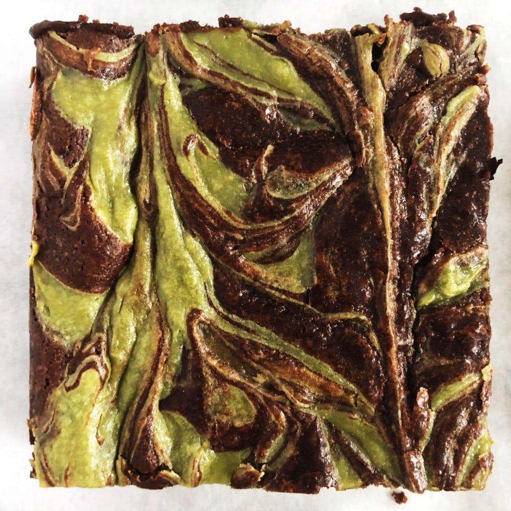 matcha marble brownies