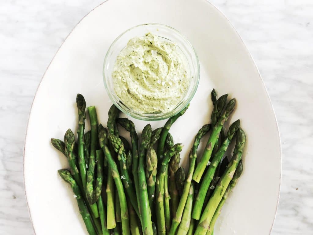 green tahini sauce with asparagus