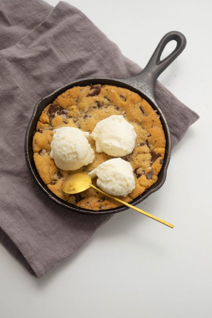 Skillet Tahini Chocolate Chip Cookie