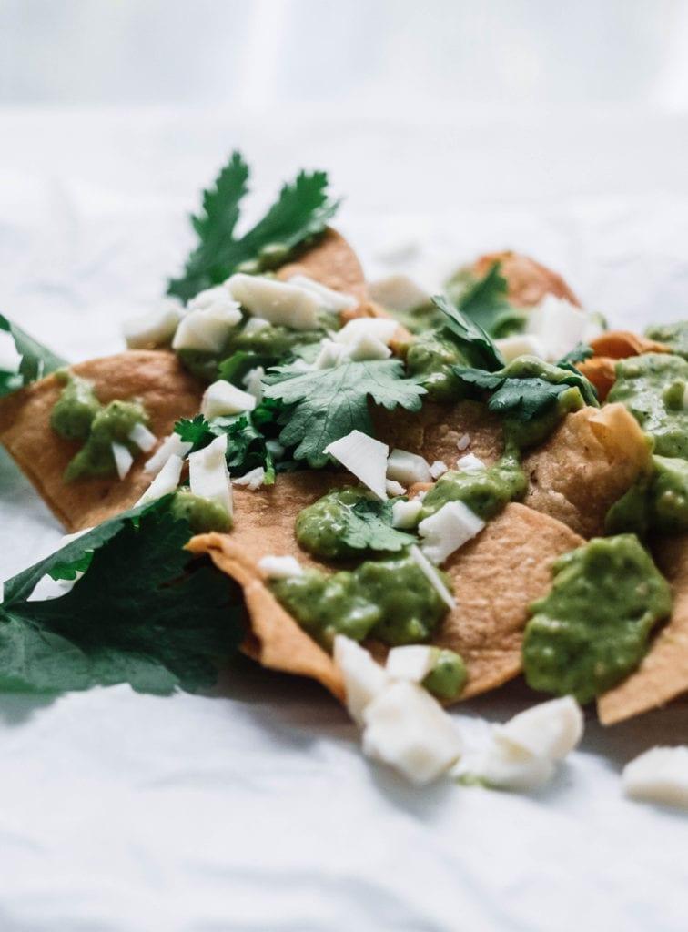 Avocado salsa verde nachos