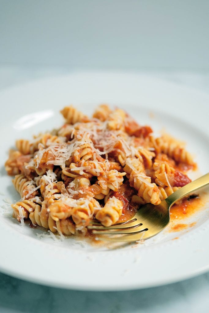 heirloom tomato vodka sauce with banza pasta