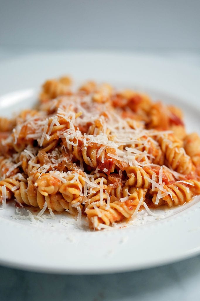 heirloom tomato vodka sauce with banza pasta