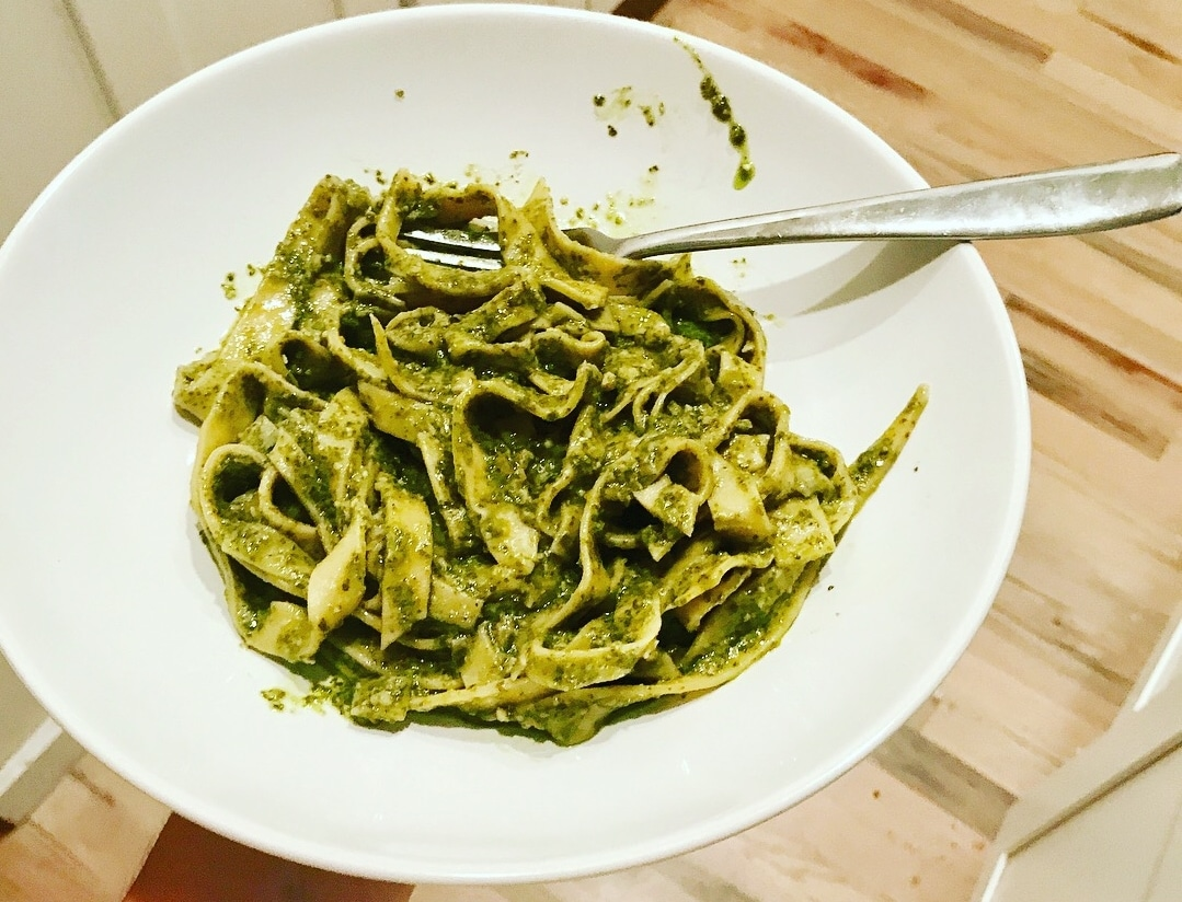 handmade pasta with kale pesto