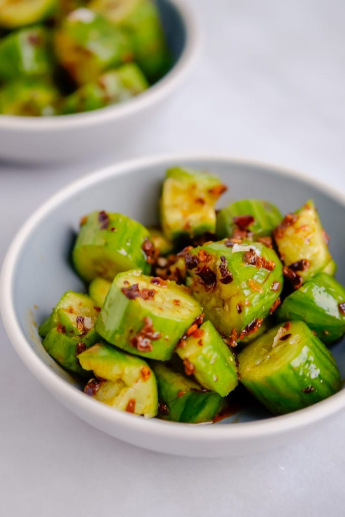 Spicy cucumber salad with homemade chili oil