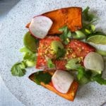 ponzu roasted salmon and pear