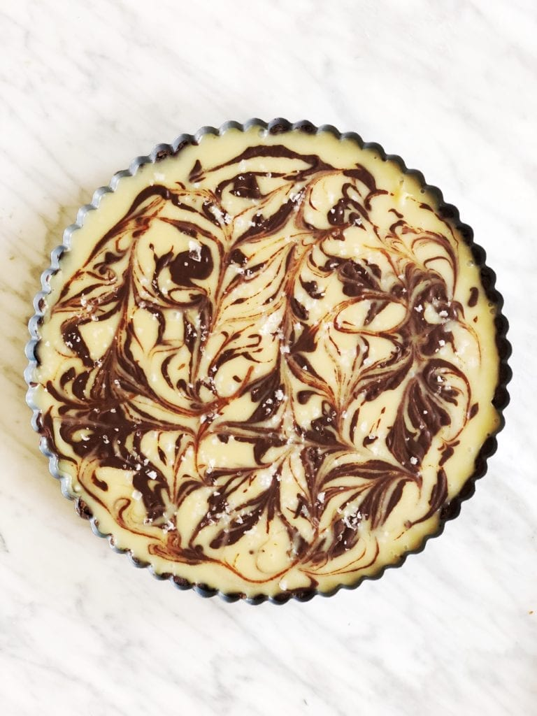 salty white chocolate-tahini tart - whole
