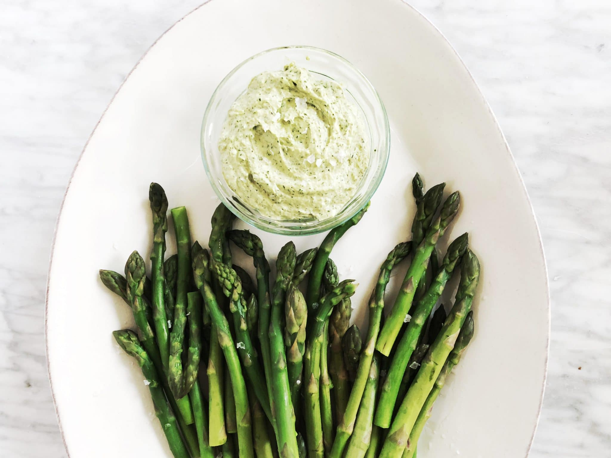 green tahini sauce with asparagus