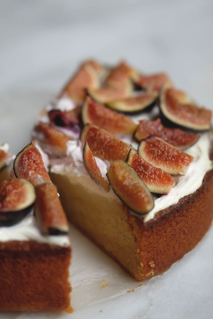 sliced cake with figs