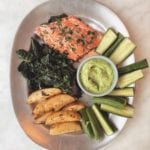 roasted salmon and kale with lemon potatoes and green goddess dressing