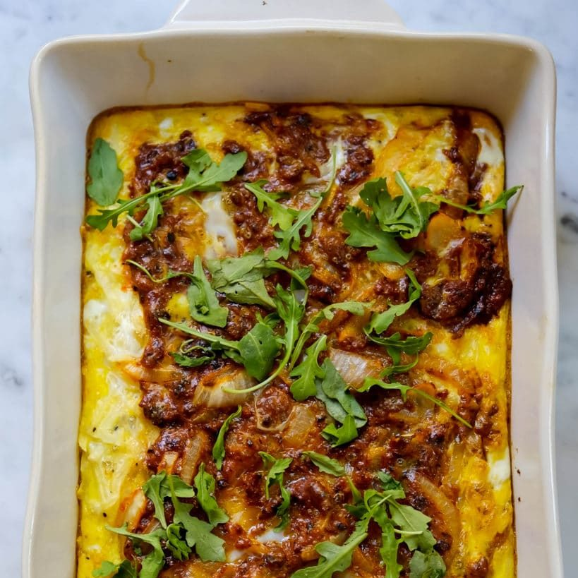 hashbrown and chorizo breakfast bake