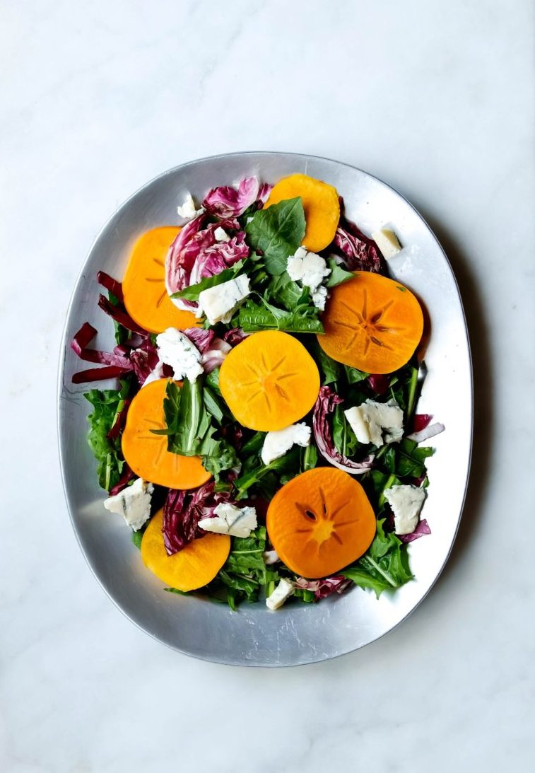 persimmon and bitter greens salad