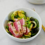 Whole30 Friendly Seared Tuna and Cucumber Zoodle Bowl
