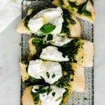 flatbread with burrata and mint pesto