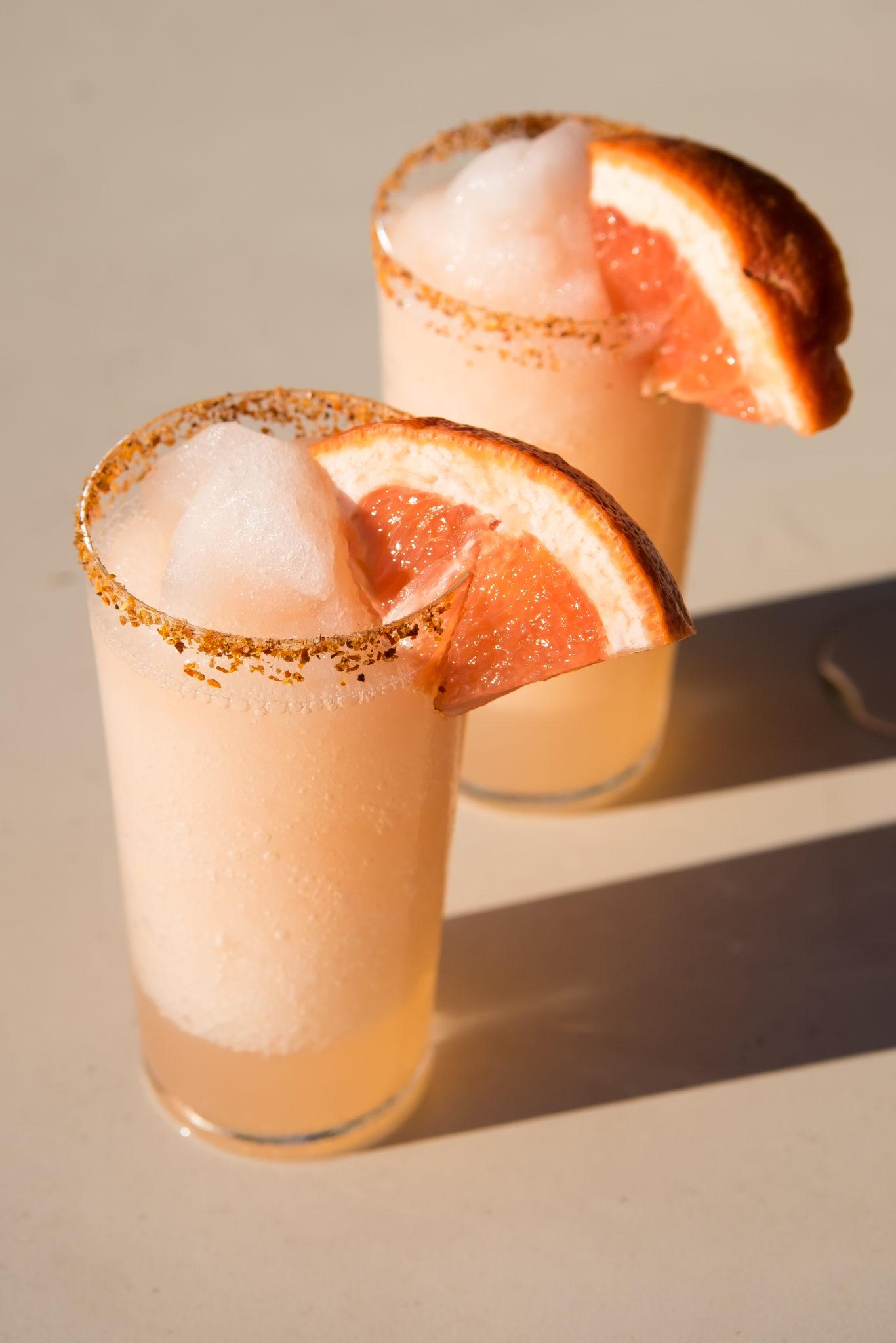 Frozen Paloma Cocktail Served with a Tajin Rim