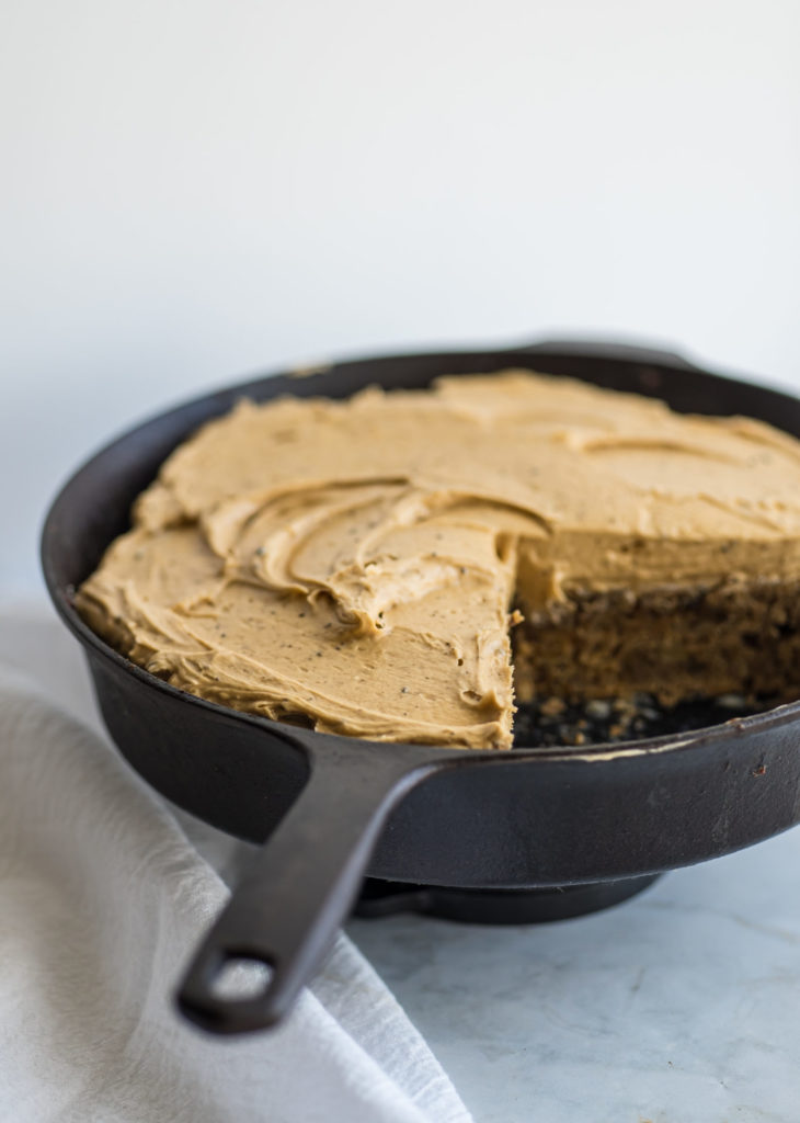 Banana cake with chai spices and coffee frosting