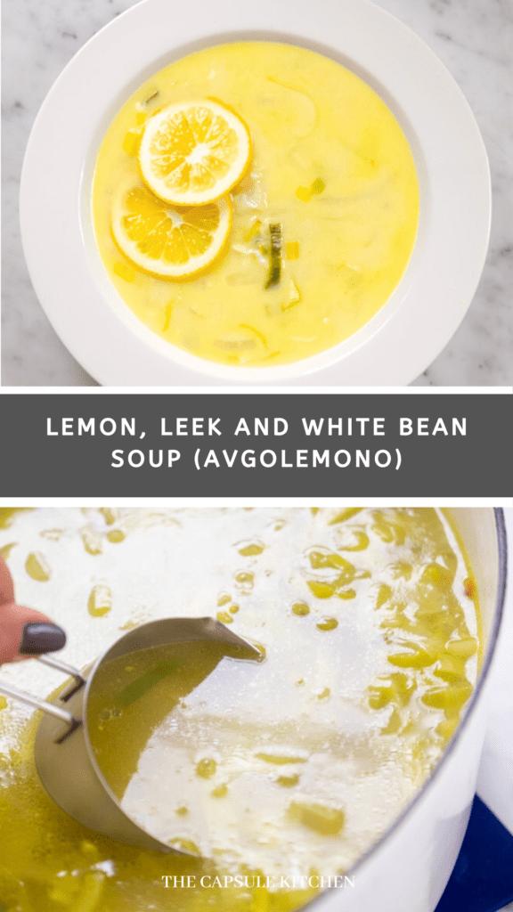 lemon, leek, and white bean soup (avgolemono recipe)