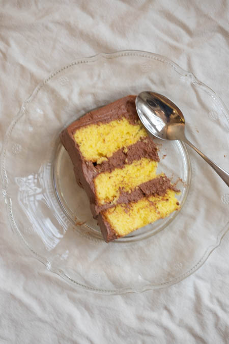 saffron yellow cake & chocolate frosting