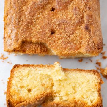 almond pound cake slice overhead shot