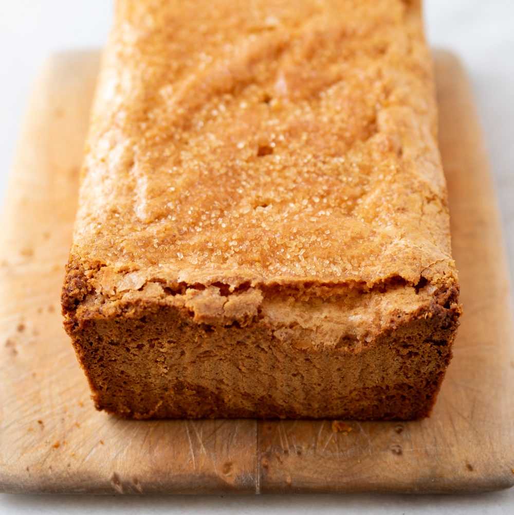 almond pound cake on board