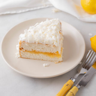 piece of coconut cake from a boxed cake mix with lemon curd