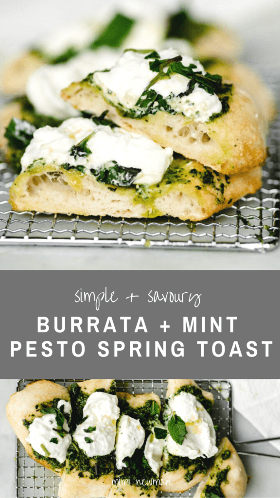 Spring Burrata and Mint Pesto Toast