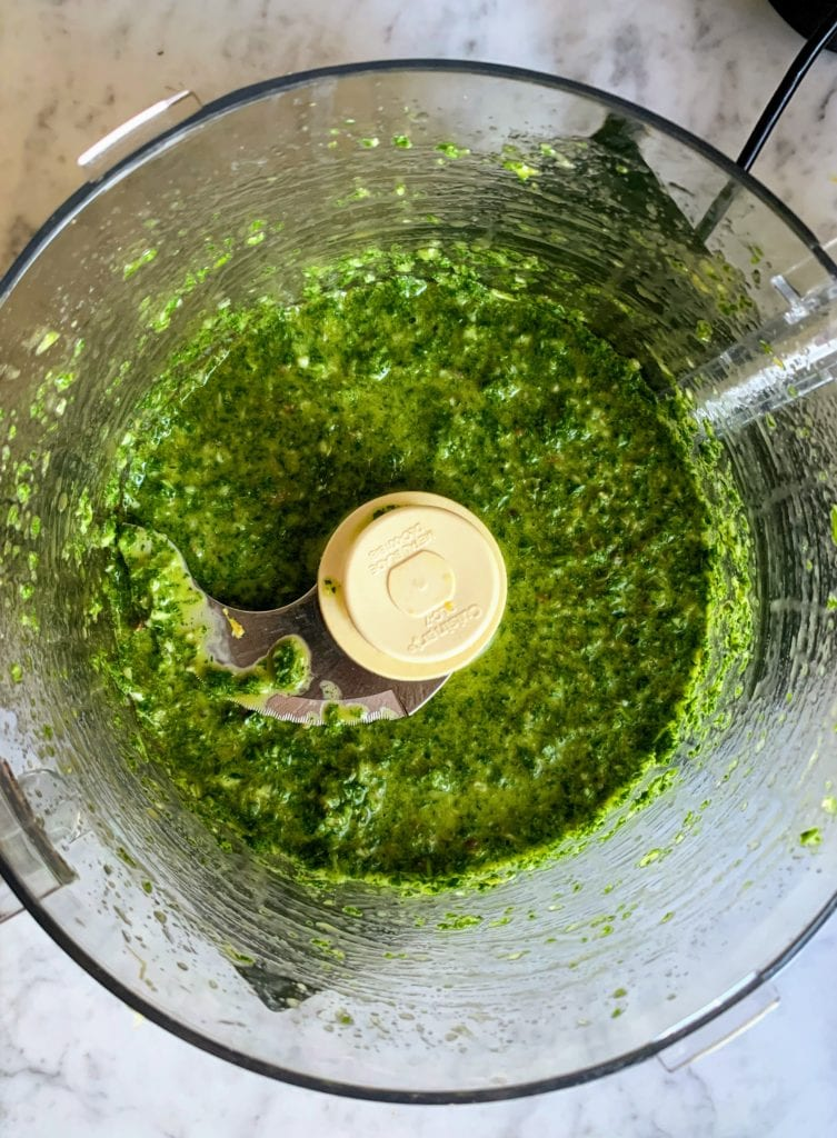 green sauce in bowl