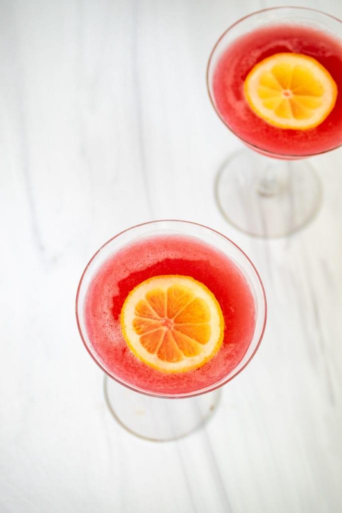 Rhubarb gin sour