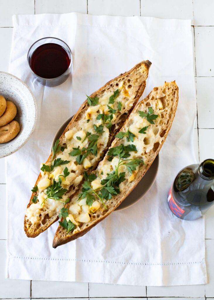Roasted garlic bread on baguette