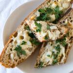 Garlic bread on baguette