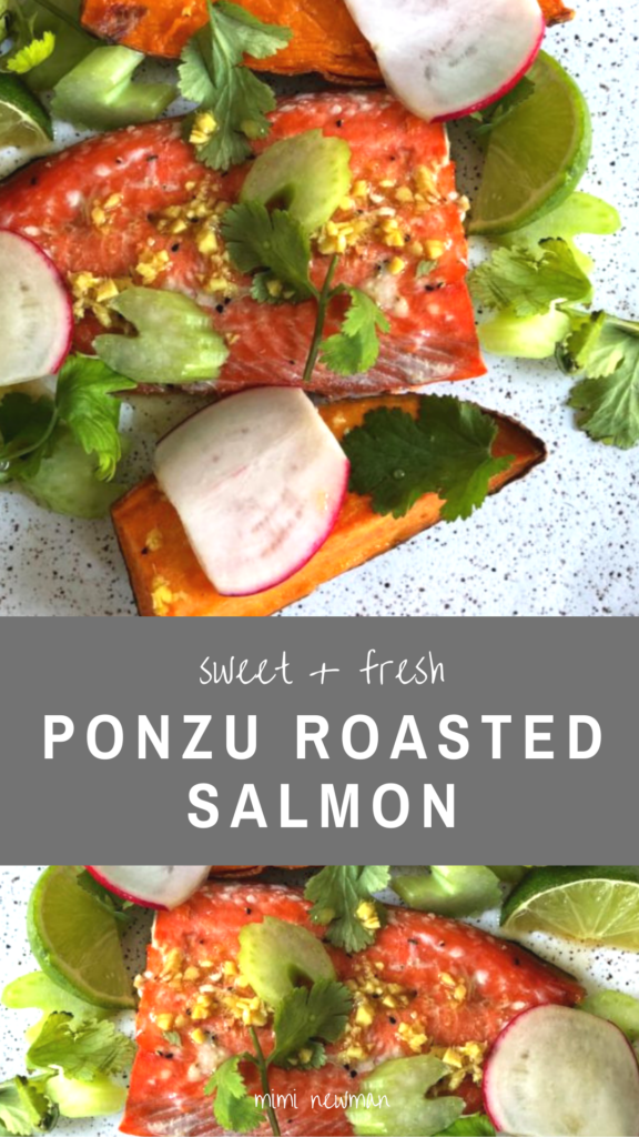Roasted salmon with ponzu, pear and sweet potato
