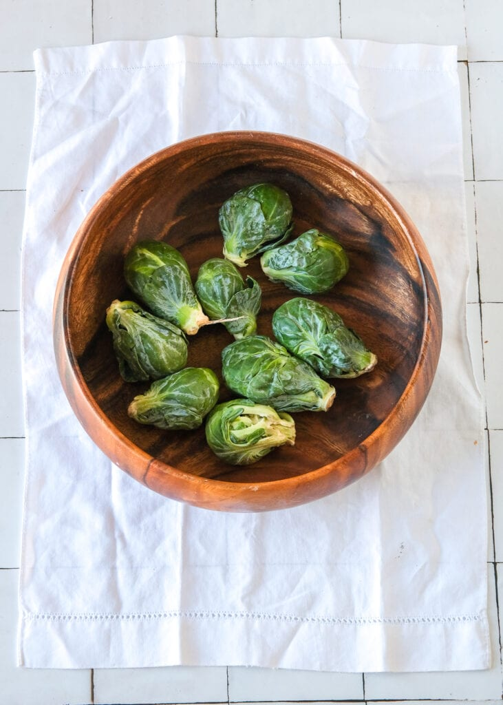 Raw brussels sprouts for a Shaved brussels sprouts salad