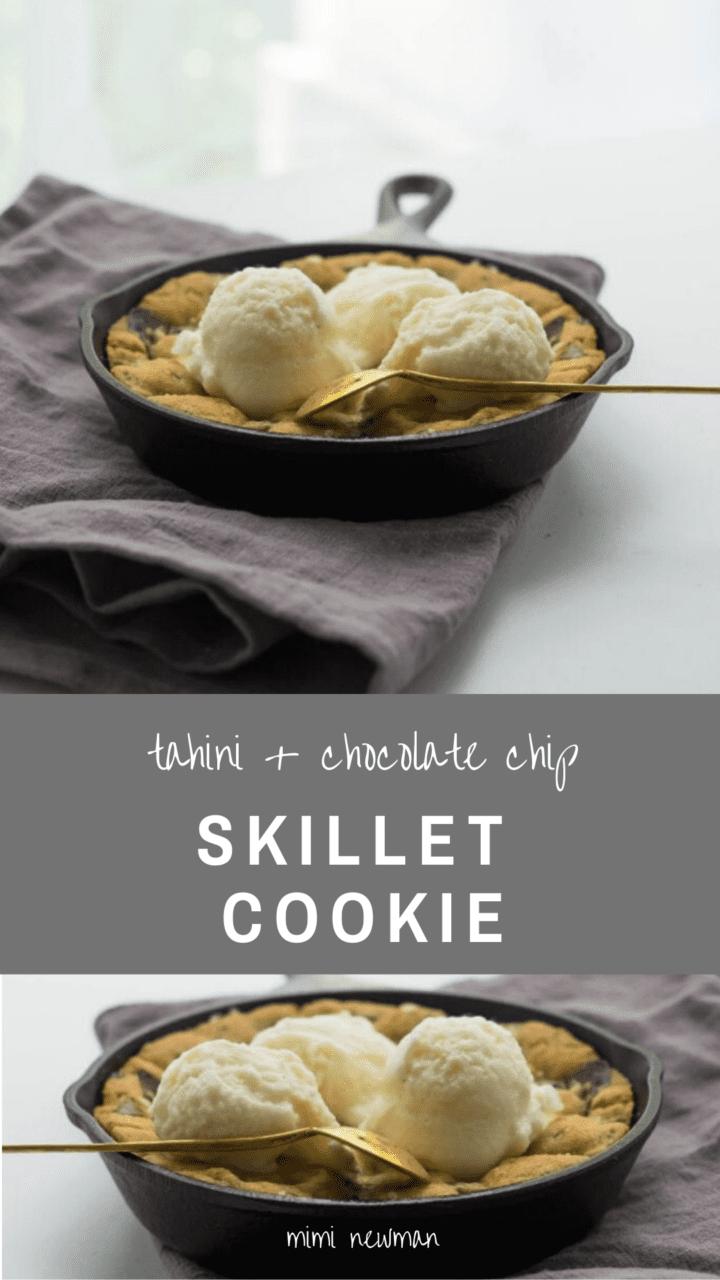 Skillet Tahini Chocolate Chip Cookie