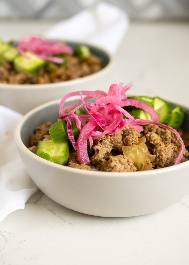 Larb-inspired Ground Turkey Rice Bowls